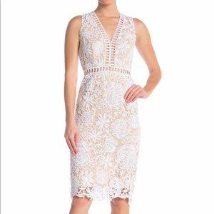 Love By Design White Lace & Lattice Midi Dress